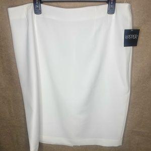 NWT Lined White Career Skirt by KASPER